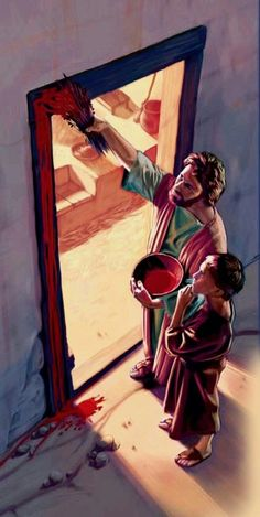 An Israelite boy watches his father put lamb's blood on the doorposts of their house Pictures Of Jesus Christ, Bible Pictures, Catholic Art, Religious Art, Jesus Cartoon, Image Jesus, Christian Artwork, Jesus Christus, Bible Illustrations