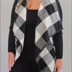 Black and white plaid jacket Black and white plaid belted jacket.  It comes with a belt, but it can be worn with or without.  Never been worn. Shein Jackets & Coats