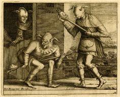 "kirgiakos: "" "" Pieter Bruegel the Elder - ""Three Fools of Carnival"" engraving. Print by Hendrik Hondius after a drawing of Bruegel"" "" Clowns, Pieter Brueghel El Viejo, Medieval Jester, Renaissance Time, Pieter Bruegel The Elder, Evil Empire, Pierrot, Catholic Art, Old Master"