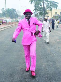 「サプール sapeur」 Some more trumpet player inspiration. but we need to make it unique to us! African Men Fashion, Mens Fashion, Ankara Fashion, African Women, Pink Love, Pretty In Pink, Hot Pink, Congo, African Print Dresses