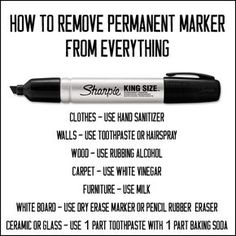 Funny pictures about How To Remove Permanent Marker. Oh, and cool pics about How To Remove Permanent Marker. Also, How To Remove Permanent Marker photos. Household Cleaning Tips, House Cleaning Tips, Cleaning Hacks, Deep Cleaning, Diy Hacks, Cleaning Solutions, How To Remove Sharpie, Remove Permanent Marker, Life Hacks