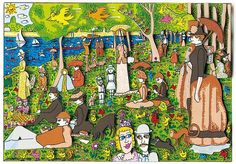 "James Rizzi ""Sunday afternoon on the island of la grande jatte"" 17 x 24 cm Farris Buellers Day Off, James Rizzi, Georges Seurat, Art Institute Of Chicago, Art For Kids, Pop Art, Sunday, Scene, Fine Art"