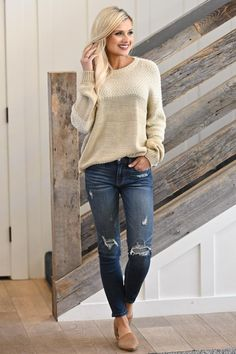 A Simple Smile Sweater - Oatmeal - Closet Candy Boutique Sexy Outfits, Cute Outfits, Fashion Outfits, Conservative Outfits, Mac, Skinny Jeans, Style Inspiration, Candy Boutique, My Style