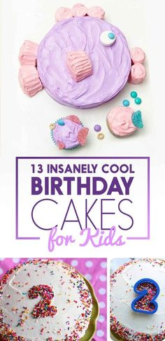 13 Totally Genius Birthday Cakes For Kids - Birthday Cake Flower Ideen Diy Birthday Card, 4th Birthday Cakes, Kids Birthday Treats, Birthday Ideas, 2 Birthday Cake, Princess Birthday, Cake Cookies, Cupcake Cakes, Cake Icing