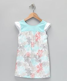Take a look at this Blue & Coral Lace Print Daphna Dress - Infant, Toddler & Girls by Garden Party: Darling Dresses on #zulily today!