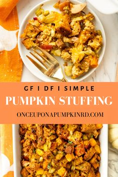 Pumpkin stuffing is a delicious spin on the classic Thanksgiving dish and is made with simple ingredients like celery, apple, butternut squash and spices. SO easy to make and perfect for all of your gluten and dairy free guests this holiday season! Dairy Free Thanksgiving Recipes, Gluten Free Pumpkin, Pumpkin Recipes, Winter Recipes, Gluten Free Stuffing, Stuffing Recipes, Dairy Free Diet, Fodmap Recipes, Real Food Recipes