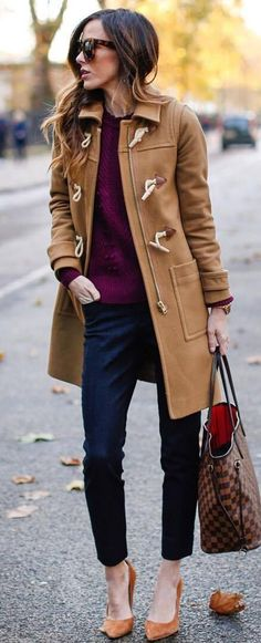 winter outfit idea | nude coat + bag + panst + heels + hat + sweater