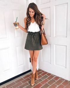 olive skirt, white tank, cognac accessories. perfect fall transition outfit