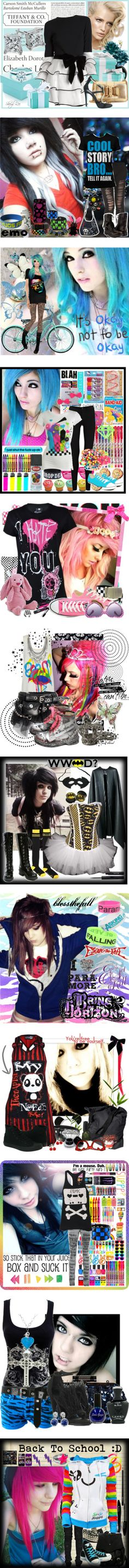 """emo"" by hotopic ❤ liked on Polyvore. I love the batman look! I think I might do that for Halloween"