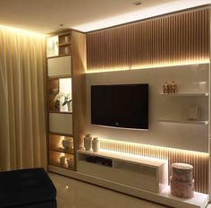 Top Home Interior Design Tv Shelf Design, Tv Cabinet Design, Tv Wall Design, Design Case, House Design, Living Room Tv Unit Designs, Tv Unit Furniture, Modern Tv Wall Units, Living Room Modern