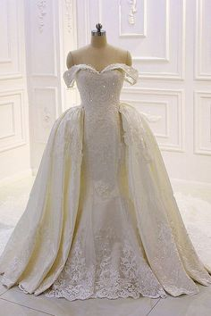 Stunning Tulle Off-the-shoulder Neckline 2 In 1 Wedding Dresses With Beaded Lace Appliques & Detachable Train 2 In 1 Wedding Dress, Wedding Dresses, Beaded Lace, Lace Applique, Bridal Gowns, Wedding Ceremony, Off The Shoulder, Tulle, Neckline