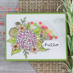 Hello Floral Faux Shaker Card by Juliana Michaels featuring Newton's Nook Designs Lovely Blooms Stamp and Studio Katia Dies and Sequins