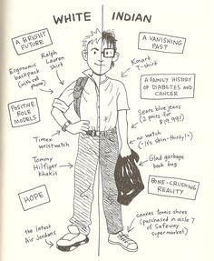 This is Arnold's cartoon of the differences between him and the other students at his school. He gets bullied for his differences and he feels out of place.