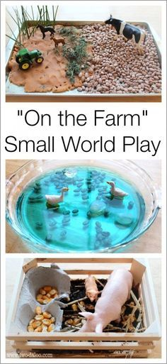 Create a farm small world scene using sensory materials to encourage sensory exploration, imaginative play, language development, and more!