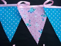 5 meters bunting aqua spotty and pink rose party wedding bunting