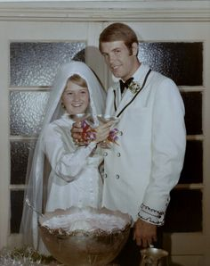 Today is Aug. ~ 43 years ago, at the tender age of 19 (I know, I look about 14 in my wedding pictures), with only a year and. 1970s Wedding, Vintage Wedding Photos, Wedding Pictures, Vintage Weddings, Vintage Bridal, Wedding Attire, Wedding Gowns, Wedding Day, Bright Bridesmaid Dresses