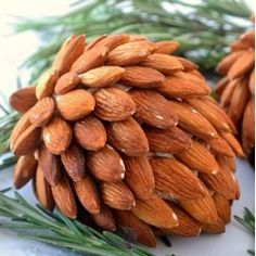 cheese ball covered in almonds to look like a pine cone!