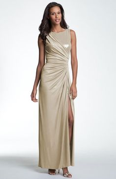 Free shipping and returns on Adrianna Papell Ruched Mixed Media Gown at Nordstrom.com. Lustrous metallic jersey shapes the sleeveless, ruched silhouette of a full-length gown, highlighted by a partial bodice inset of glistening sequins and a daringly high side slit.