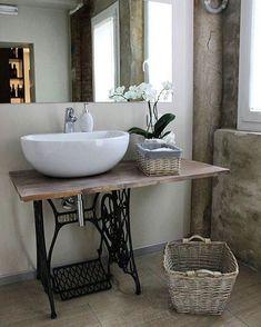 Old Sewing Machines, Wash Hand Basin, Watermelon Diet, Cast Iron Cookware, Barndominium, Bathroom Interior, Small Bathroom, Office Decor, Farmhouse Decor