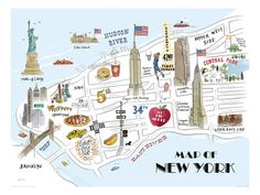 Map of New York Gicleetryck