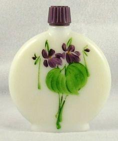 Decorative Arts Gentle Devon Violets Perfume Bottle Rare Handpainted Antique Torquay England Milkglass Antiques