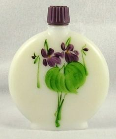 Hand-painted oval milk glass bottle, Original Devon Violets - Maimeo's Memories