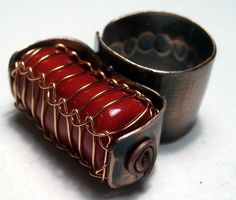 Copper ring with red coral in copper net by BaccaraJewelry on Etsy, $52.00