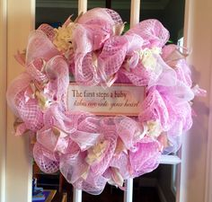 It's a girl! Pink mesh wreath. Can be used at baby shower, on hospital door and nursery door
