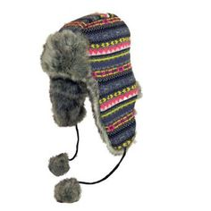 Surell Accessories Faux Fur Reversible Aztec Print Trooper Hat. One Size.