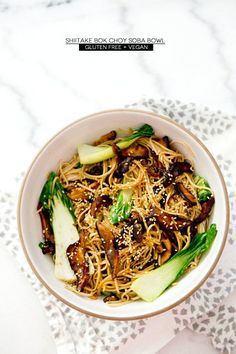 Shiitake Bok Choy Soba Noodle bowl by A House in the Hills. Oh gosh you guys, this noodle bowl. And these shiitake mushrooms- salty, ric. Veggie Recipes, Asian Recipes, Whole Food Recipes, Vegetarian Recipes, Cooking Recipes, Healthy Recipes, Noodle Recipes, Dinner Recipes, Clean Eating
