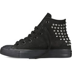 Converse Chuck Taylor Collar Studs – black Sneakers (98 AUD) ❤ liked on Polyvore featuring shoes, sneakers, footwear, studded, black shoes, converse sneakers, converse shoes, black studded shoes and converse footwear