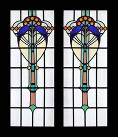 ANTIQUE NOUVEAU STAINED GLASS WINDOWS DECO LEADED LIGHTS
