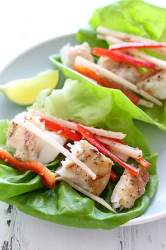 Grilled Fish Lettuce Tacos Recipe with Mojito Marinade