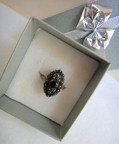 Vintage SS Marcasite Black Jet Onyx Filagree Ring Oval Shaped Size 7.25 Marked #Vintage #Onyx #fashion #style #unique