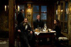 Watson, Simza & Mycroft strategize in Switzerland (Sherlock Holmes: A Game of Shadows)