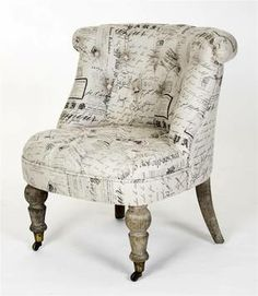 Ala the fabric chair in Victoria Grayson's house on Revenge. LOVE that chair.