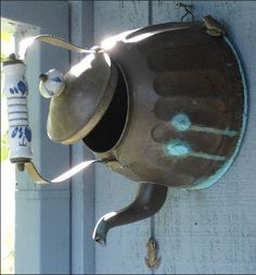 vintage copper teapot bird house