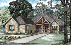 Elevation of House Plan 82229...has a safe room!?! 2nd bathroom would be Jack & Jill