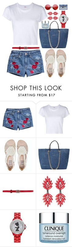 """""""Summer Fun"""" by truthjc ❤ liked on Polyvore featuring H&M, RE/DONE, Billabong, GUESS, Gucci, Amrita Singh, Disney, Clinique and INDIE HAIR"""
