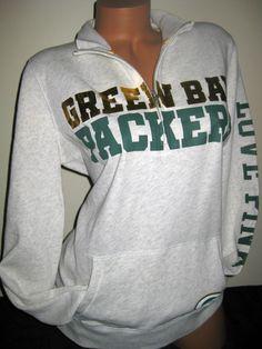 VICTORIA'S SECRET PINK NFL GREEN BAY PACKERS HALF ZIP SWEATSHIRT. yesss Packers<3