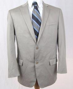 John Varvatos Blazer 42R Gray Cotton Blend Two Button Double Vented Sport Coat #JohnVarvatos #TwoButton