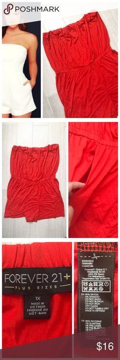 Forever 21 Red Romper [ plus size ] Forever 21 Plus romper in bright red with orangeish tint. Elastic on top. Pockets. First photo on left not actual item just showing for style! BUNDLES 20% OFF 🎉 Forever 21 Shorts