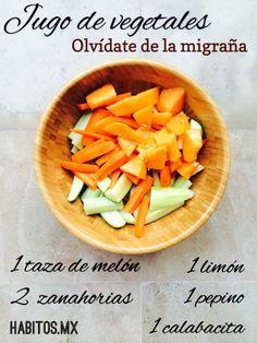 Jugo de vegetales para la migraña. De Habitos.mx