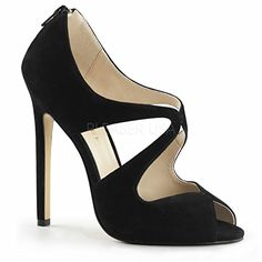 5 Inch Heel Peep Toe Pump Sandal With Cutaway Shapes Back Zip Black Suede14     b03b61ae09
