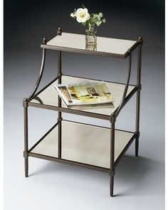 Tier small mirrored end table/bedside table.