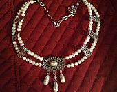 Renaissance Double-strand Tudor or Victorian bridal glass pearl and silvertone necklace by Karen Troeh with vintage pendant OOAK