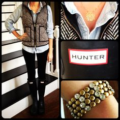 Monogram Necklace, JCrew, Hunter Boots. I love the vest and shirt combination!