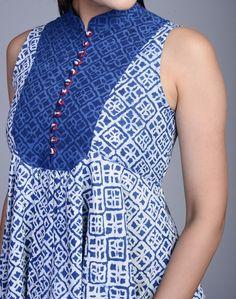 Fabindia.com | Cotton Printed Asymmetric Contrast Button Top