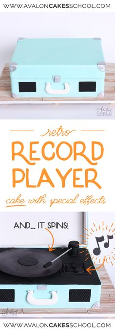 Record player cake that actually MOVES, PLAYS MUSIC and you open the top! This tutorial shows you how to do it all. full HD video tutorial by Avalon Yarnes of Avalon Cakes School of Sugar Art. Cake Pops, Retro Record Player, Cake Pop Tutorial, Cake Structure, Music Cakes, Sculpted Cakes, Sugar Craft, Cake Decorating Tutorials, Cake Videos
