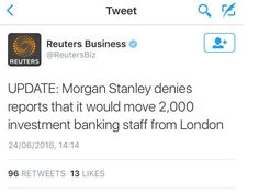 Morgan Stanley bank looks to move 2,000 London staff to Dublin or Frankfurt